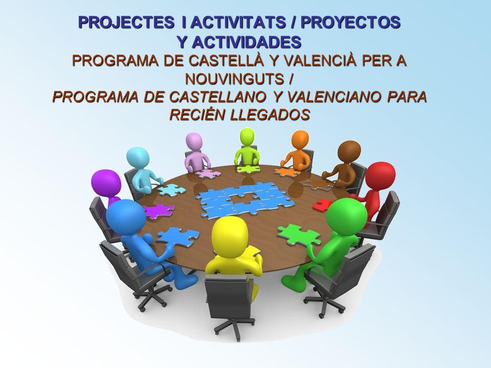 PROJECTES I ACTIVITATS / PROYECTOS Y ACTIVIDADES PROGRAMA DE CASTELLÀ Y VALENCIÀ PER A NOUVINGUTS / PROGRAMA DE CASTELLANO Y VALENCIANO PARA RECIÉN LLEGADOS