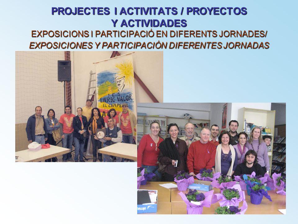 PROJECTES I ACTIVITATS / PROYECTOS Y ACTIVIDADES EXPOSICIONS I PARTICIPACIÓ EN DIFERENTS JORNADES/ EXPOSICIONES Y PARTICIPACIÓN DIFERENTES JORNADAS