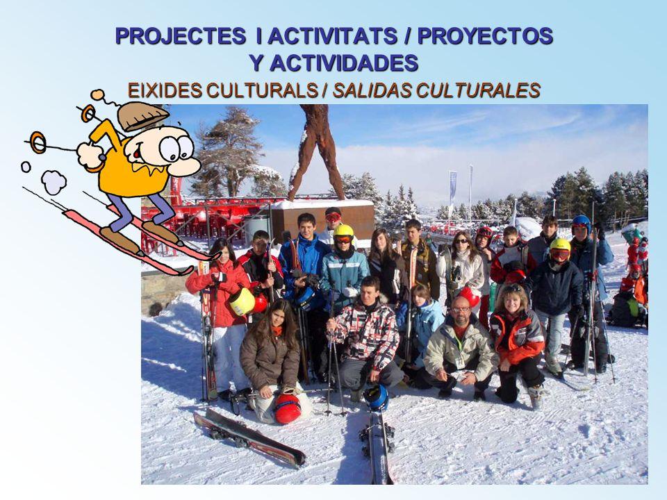 PROJECTES I ACTIVITATS / PROYECTOS Y ACTIVIDADES EIXIDES CULTURALS / SALIDAS CULTURALES