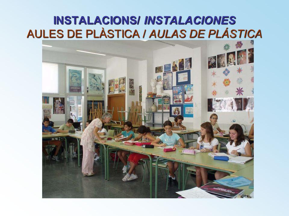 INSTALACIONS/ INSTALACIONES AULES DE PLÀSTICA / AULAS DE PLÁSTICA