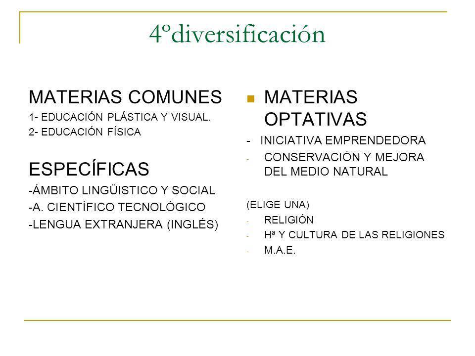4ºdiversificación MATERIAS COMUNES ESPECÍFICAS MATERIAS OPTATIVAS