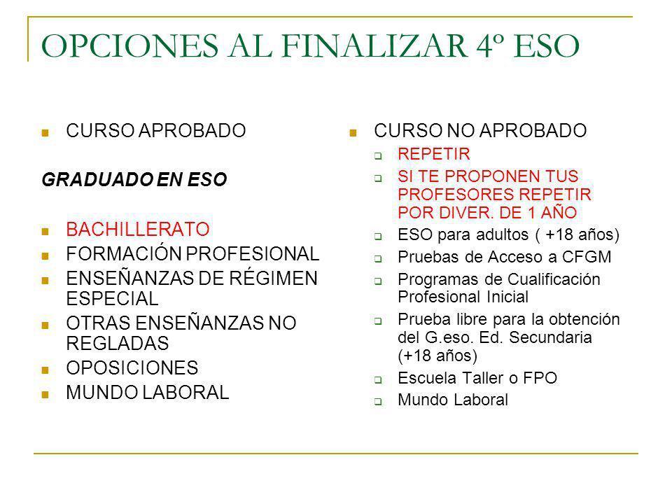 OPCIONES AL FINALIZAR 4º ESO