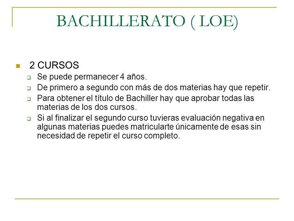 BACHILLERATO ( LOE) 2 CURSOS Se puede permanecer 4 años.