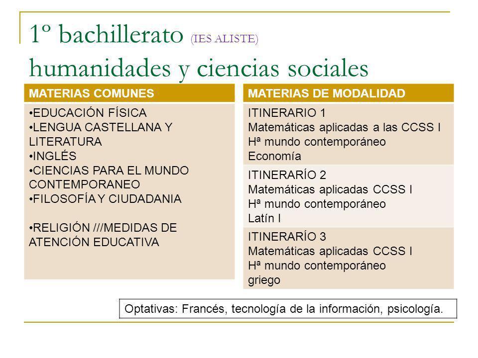 1º bachillerato (IES ALISTE) humanidades y ciencias sociales