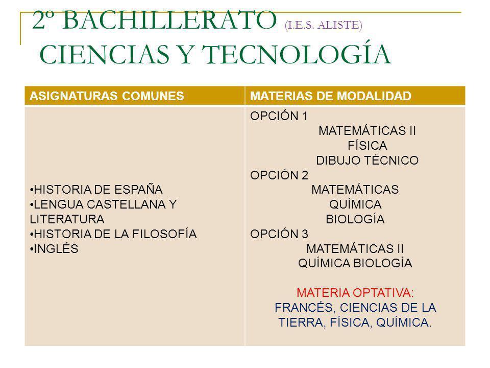 2º BACHILLERATO (I.E.S. ALISTE) CIENCIAS Y TECNOLOGÍA