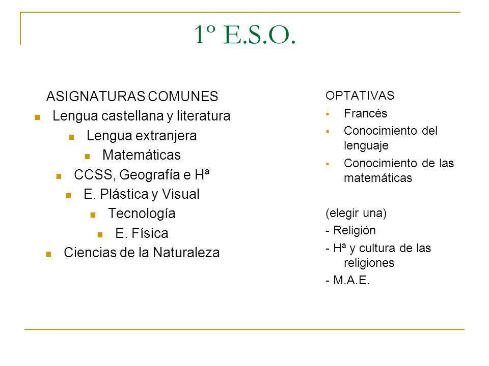 1º E.S.O. ASIGNATURAS COMUNES Lengua castellana y literatura