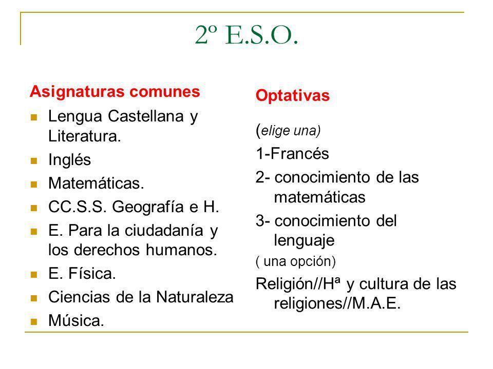 2º E.S.O. Asignaturas comunes Optativas