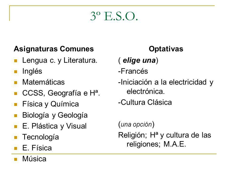 3º E.S.O. Asignaturas Comunes Optativas Lengua c. y Literatura. Inglés
