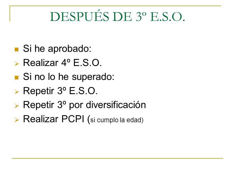 DESPUÉS DE 3º E.S.O. Si he aprobado: Realizar 4º E.S.O.