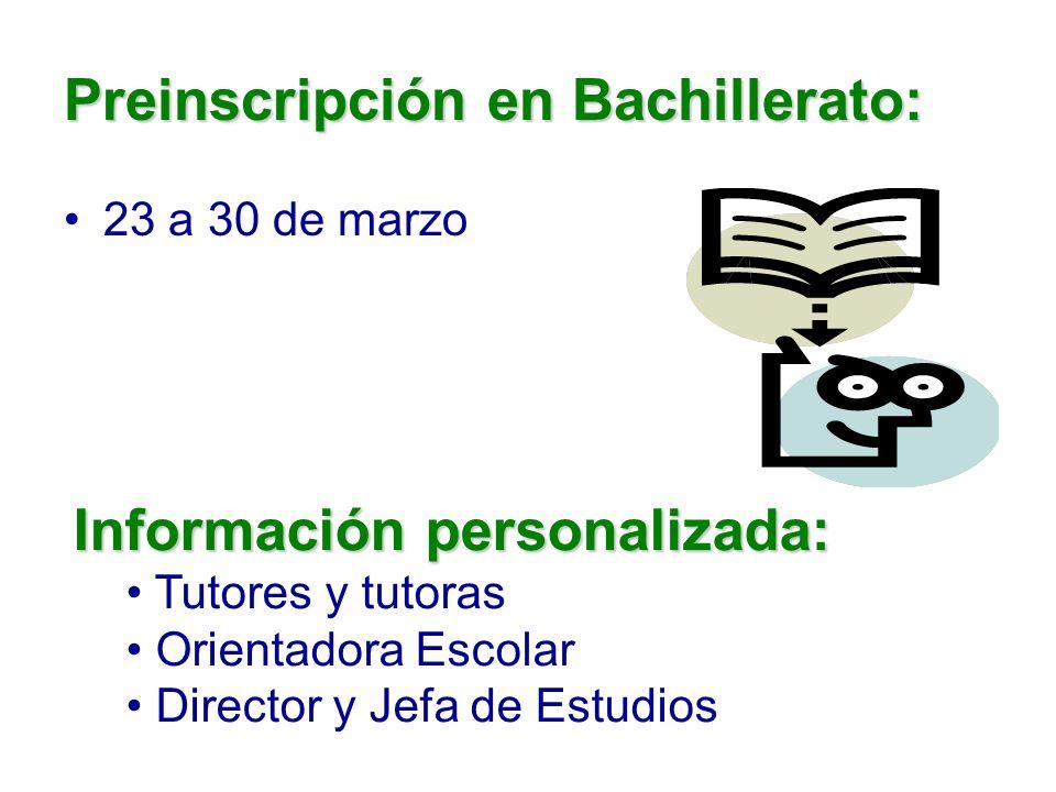 Preinscripción en Bachillerato: