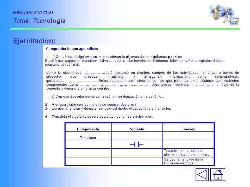 Biblioteca Virtual Tema: Tecnología Ejercitación: