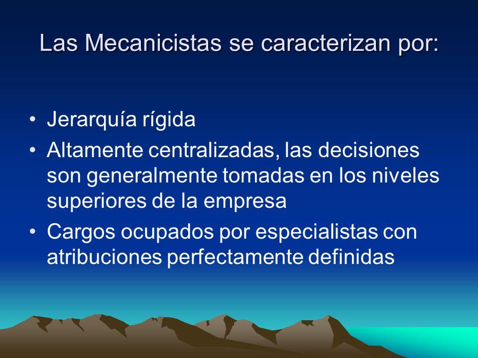 Las Mecanicistas se caracterizan por: