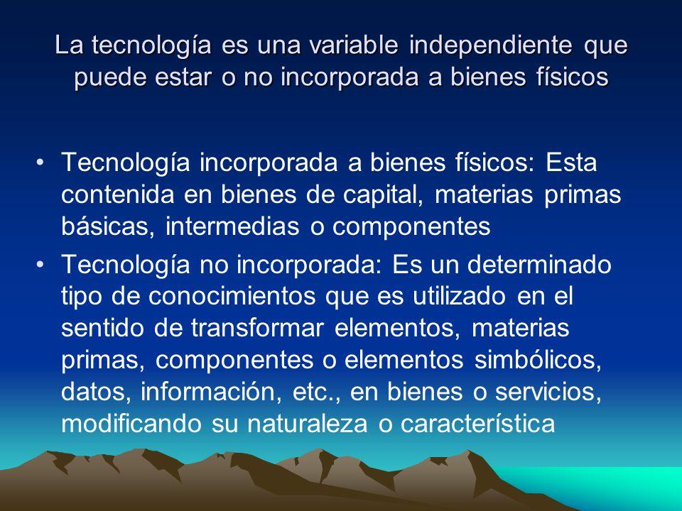 La tecnología es una variable independiente que puede estar o no incorporada a bienes físicos