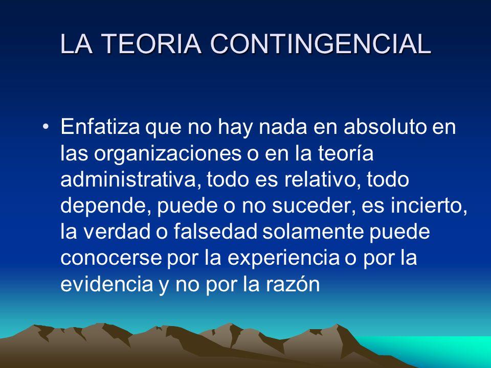 LA TEORIA CONTINGENCIAL