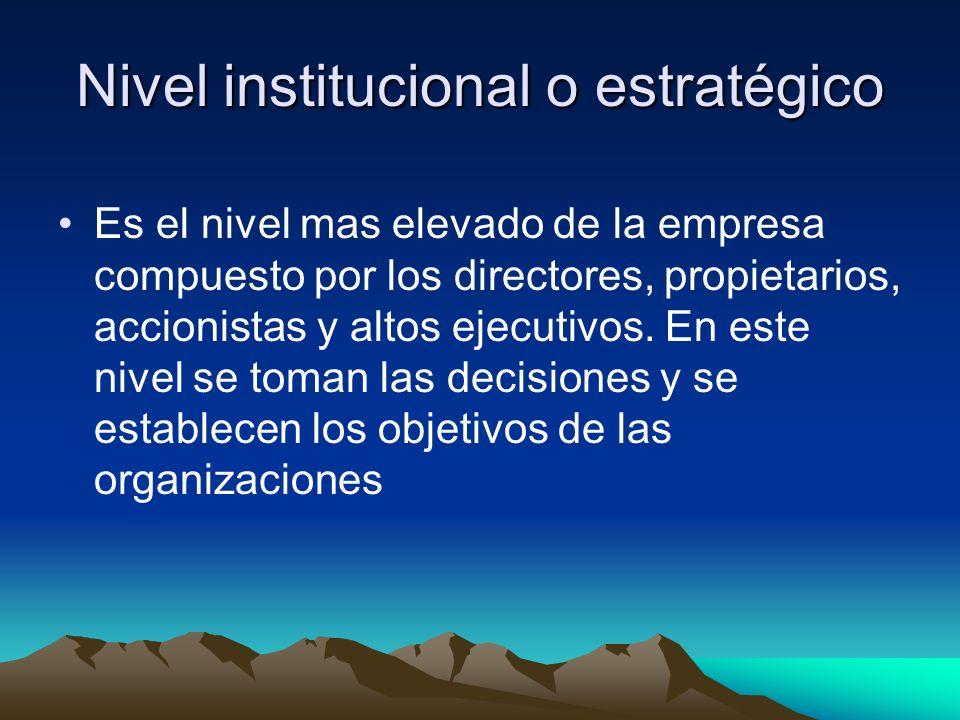 Nivel institucional o estratégico