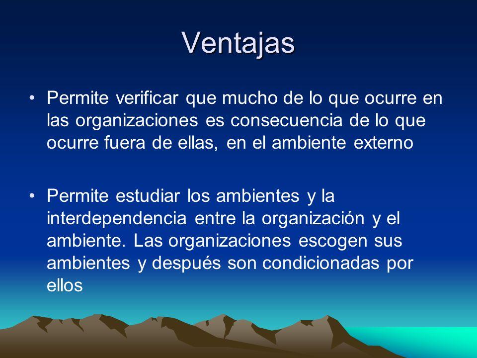 Ventajas Permite verificar que mucho de lo que ocurre en las organizaciones es consecuencia de lo que ocurre fuera de ellas, en el ambiente externo.