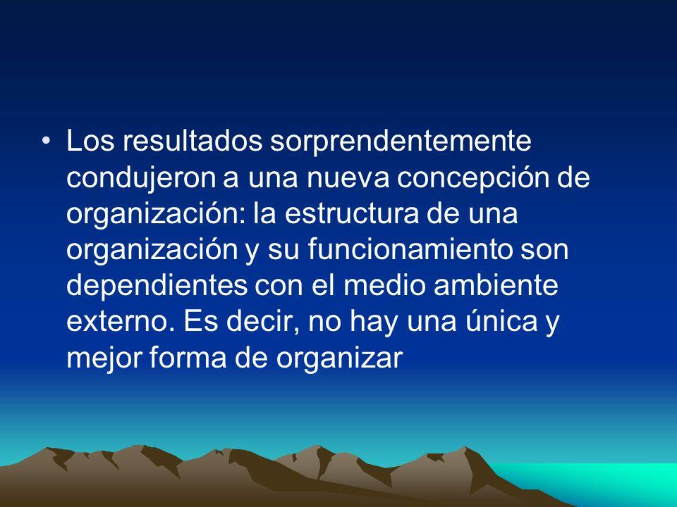 Los resultados sorprendentemente condujeron a una nueva concepción de organización: la estructura de una organización y su funcionamiento son dependientes con el medio ambiente externo.