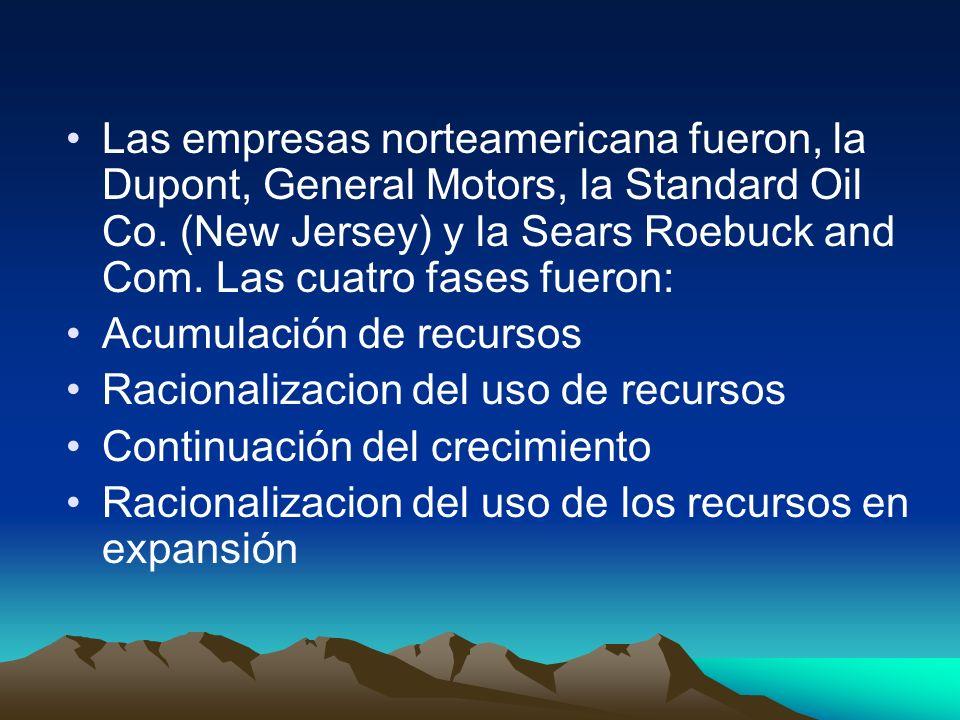 Las empresas norteamericana fueron, la Dupont, General Motors, la Standard Oil Co. (New Jersey) y la Sears Roebuck and Com. Las cuatro fases fueron:
