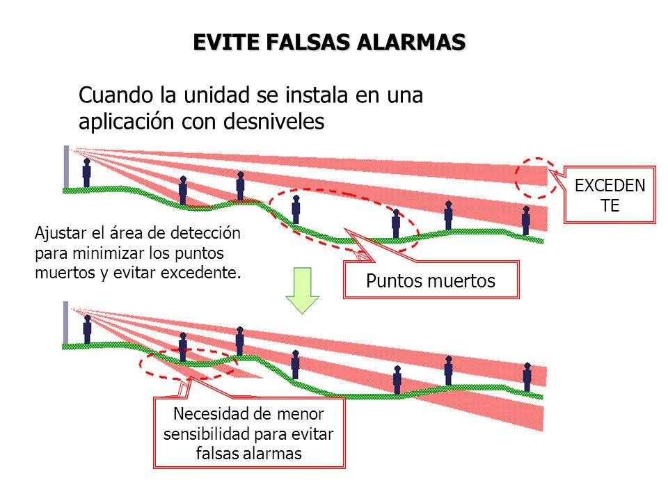 Necesidad de menor sensibilidad para evitar falsas alarmas