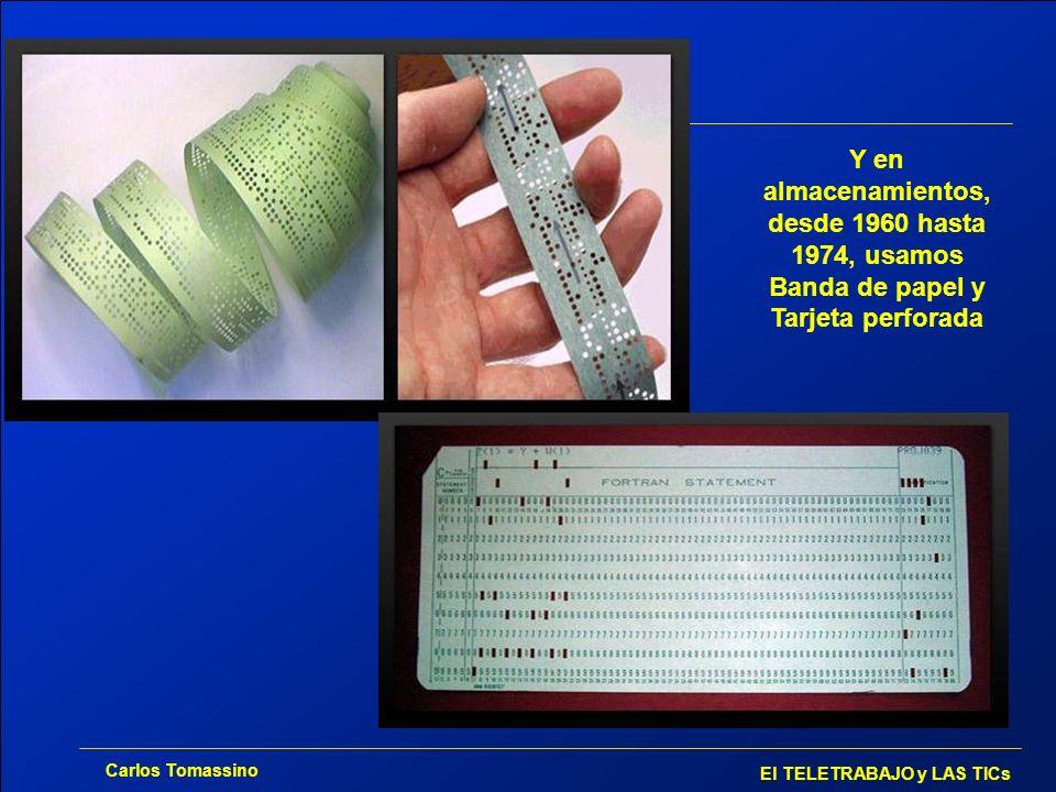 Y en almacenamientos, desde 1960 hasta 1974, usamos Banda de papel y Tarjeta perforada