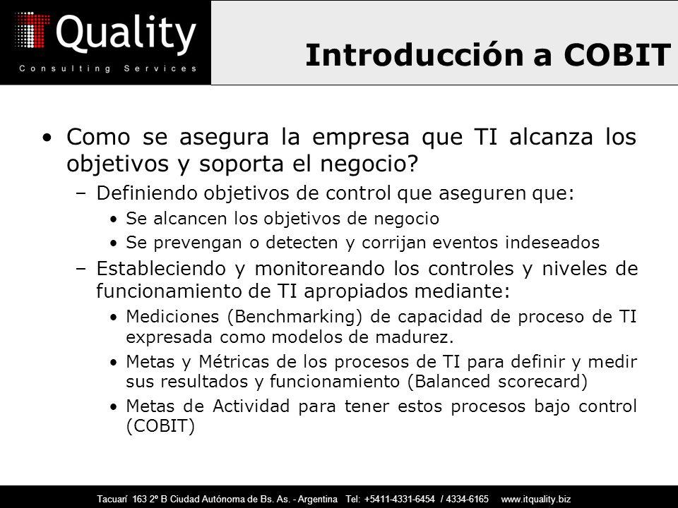 Introducción a COBIT Como se asegura la empresa que TI alcanza los objetivos y soporta el negocio Definiendo objetivos de control que aseguren que: