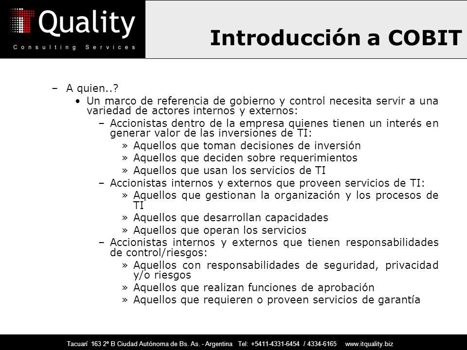 Introducción a COBIT A quien..