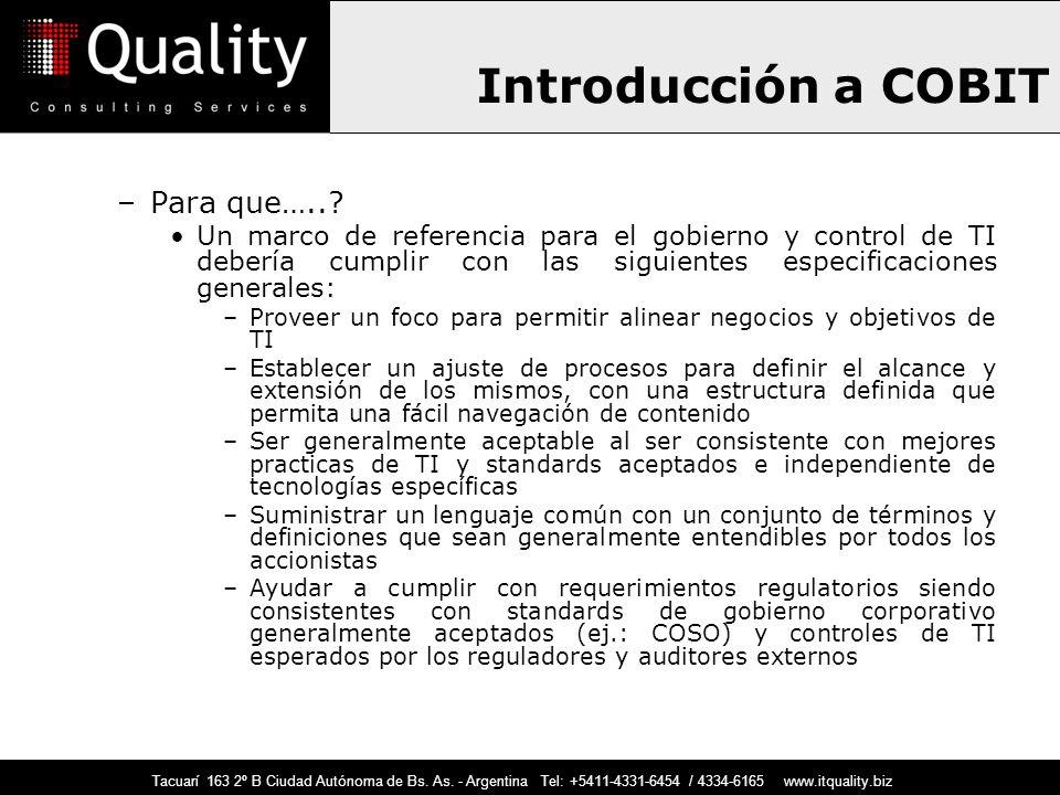 Introducción a COBIT Para que…..