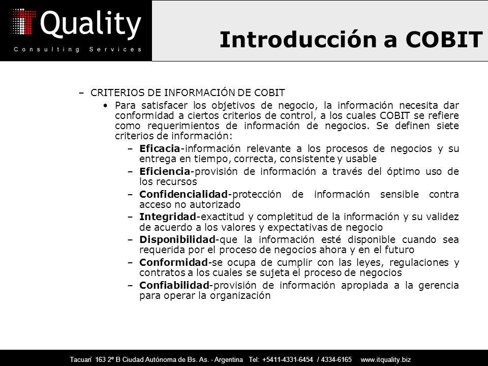 Introducción a COBIT CRITERIOS DE INFORMACIÓN DE COBIT