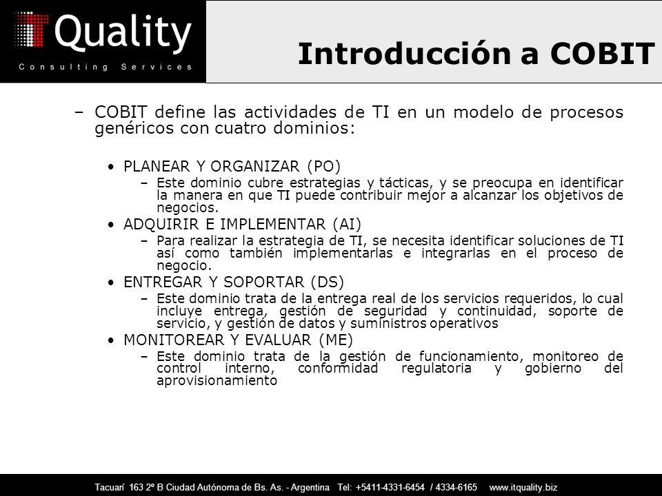 Introducción a COBIT COBIT define las actividades de TI en un modelo de procesos genéricos con cuatro dominios: