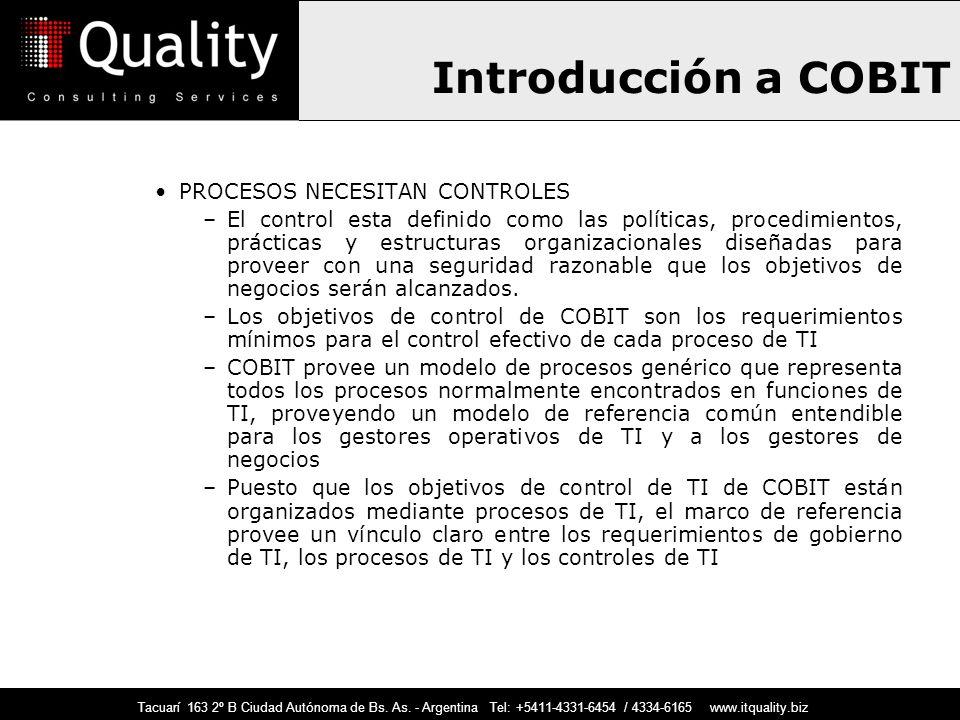 Introducción a COBIT PROCESOS NECESITAN CONTROLES