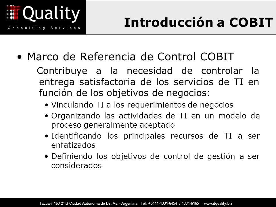Introducción a COBIT Marco de Referencia de Control COBIT