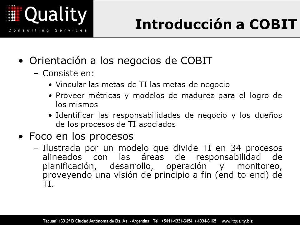 Introducción a COBIT Orientación a los negocios de COBIT