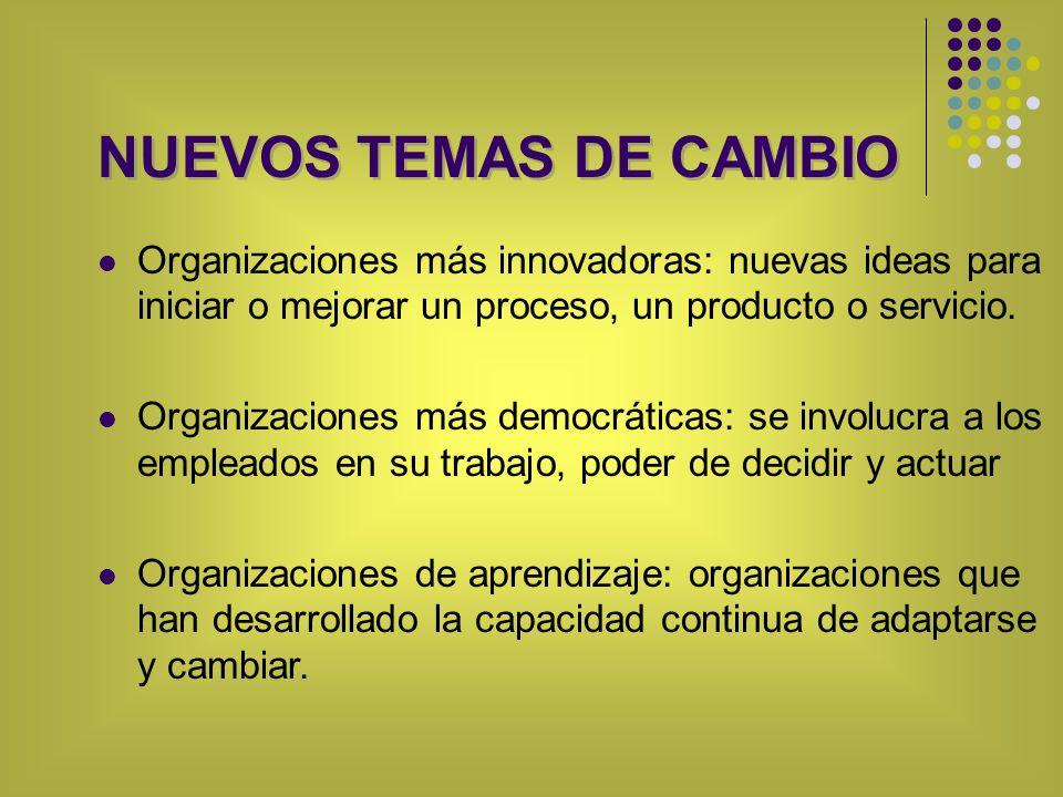 NUEVOS TEMAS DE CAMBIO Organizaciones más innovadoras: nuevas ideas para iniciar o mejorar un proceso, un producto o servicio.