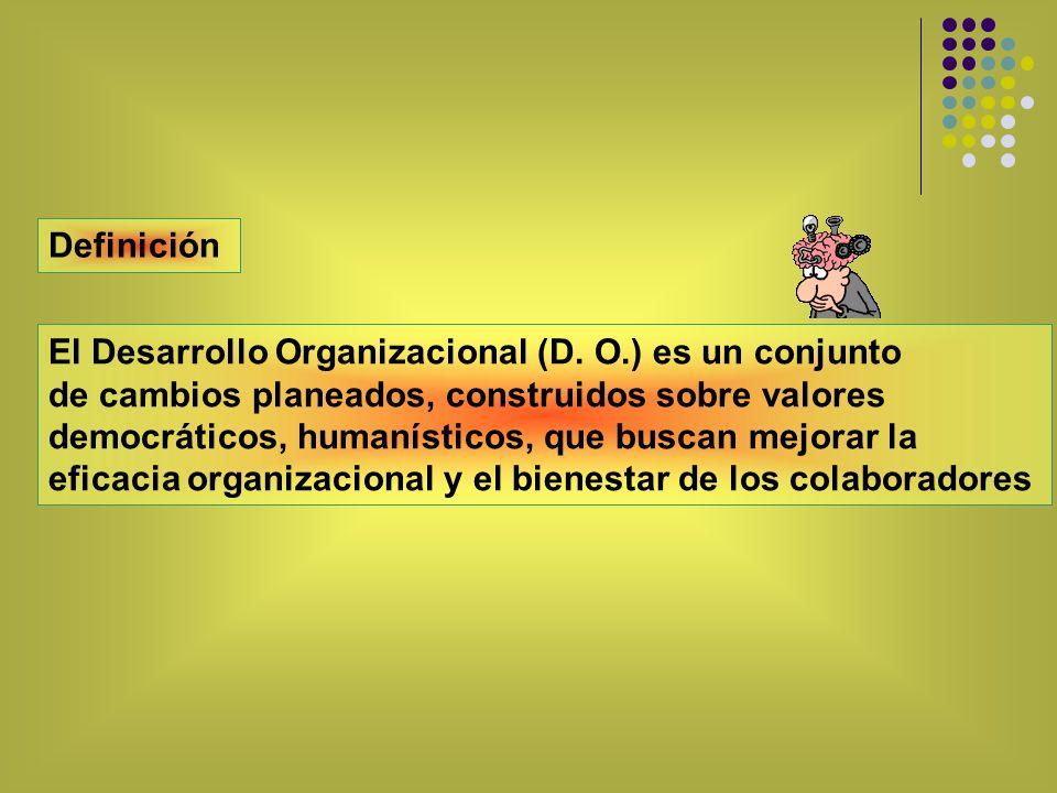 Definición El Desarrollo Organizacional (D. O.) es un conjunto. de cambios planeados, construidos sobre valores.
