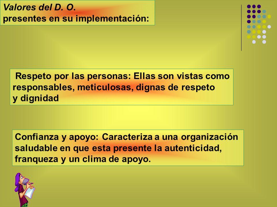 Valores del D. O. presentes en su implementación: Respeto por las personas: Ellas son vistas como.