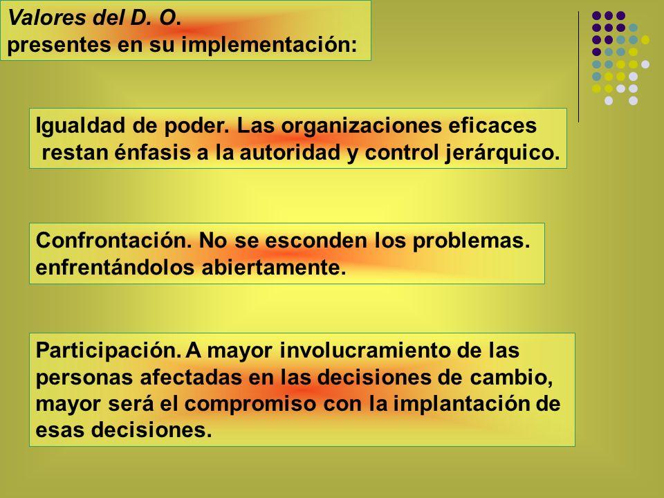 Valores del D. O. presentes en su implementación: Igualdad de poder. Las organizaciones eficaces.
