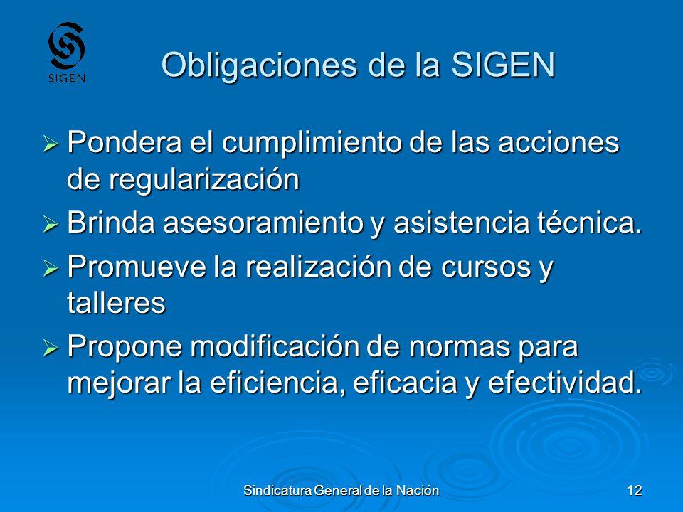 Obligaciones de la SIGEN