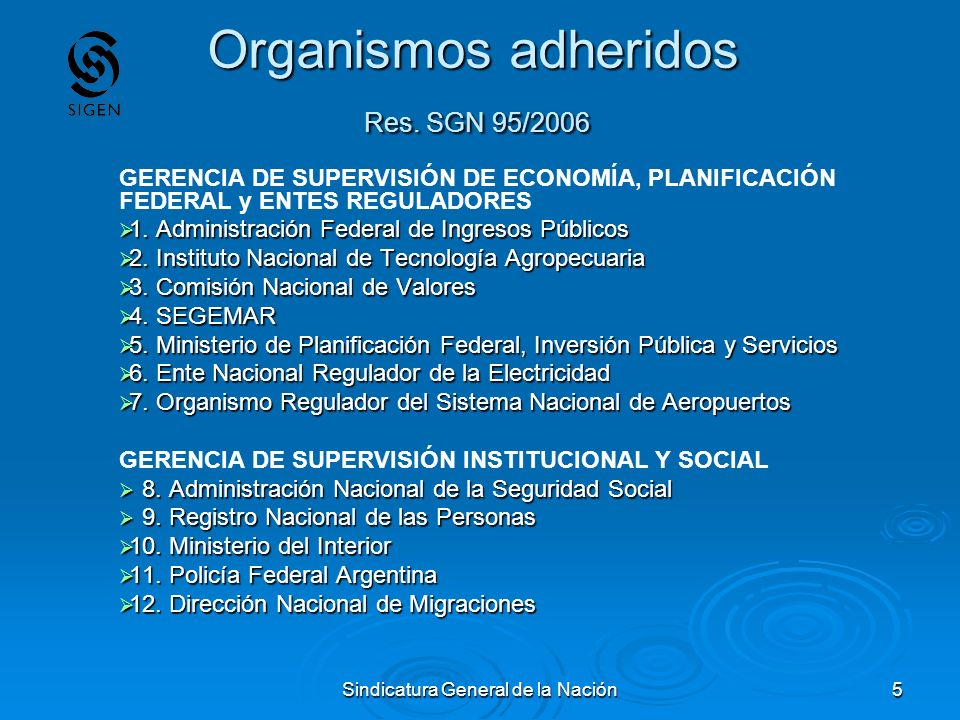 Organismos adheridos Res. SGN 95/2006