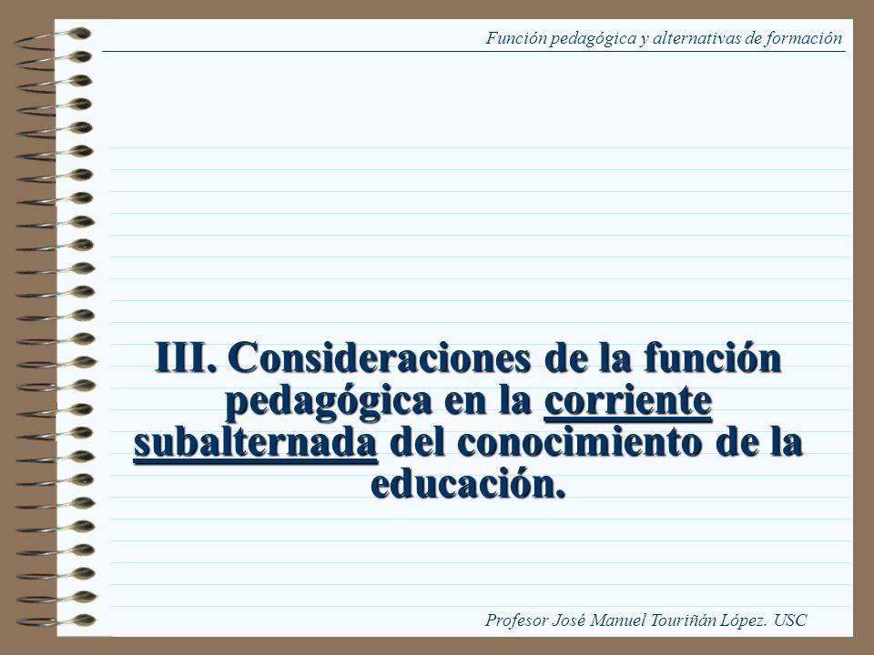 Función pedagógica y alternativas de formación
