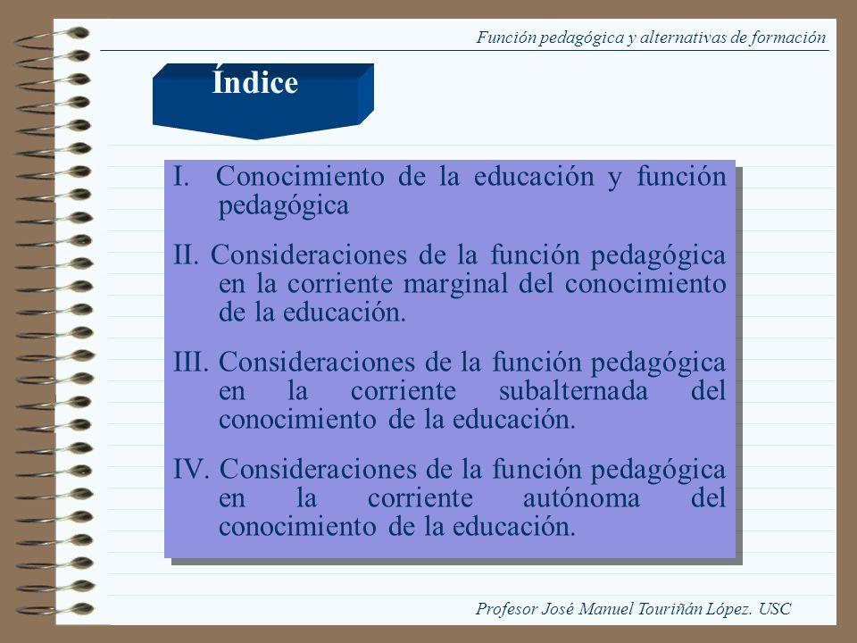 Índice I. Conocimiento de la educación y función pedagógica