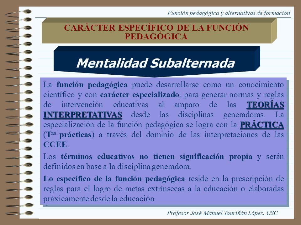 Mentalidad Subalternada CARÁCTER ESPECÍFICO DE LA FUNCIÓN PEDAGÓGICA