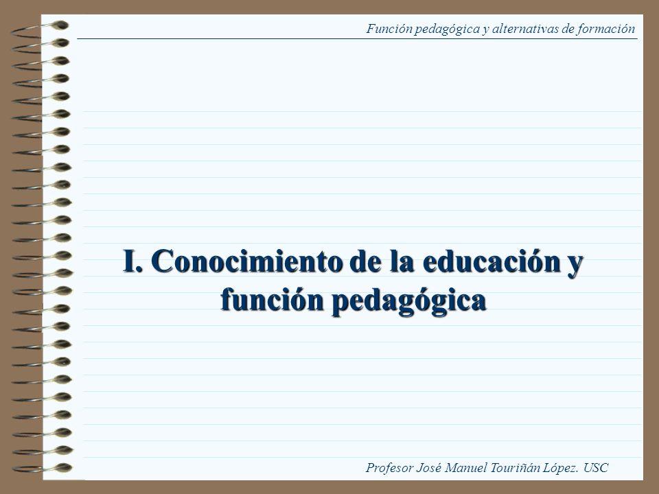 I. Conocimiento de la educación y función pedagógica