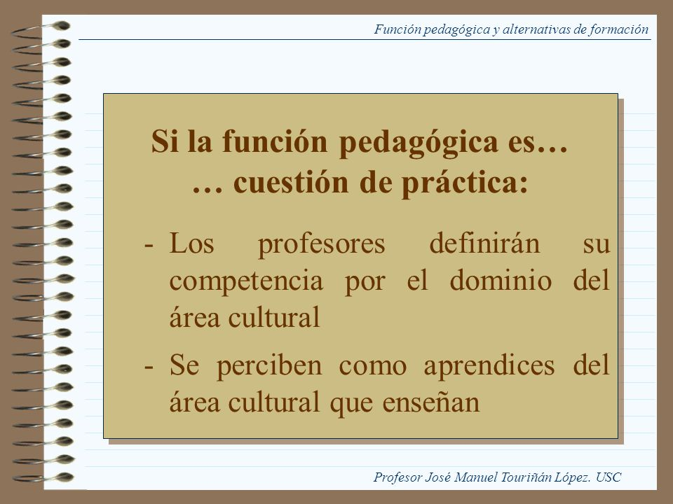 Si la función pedagógica es… … cuestión de práctica:
