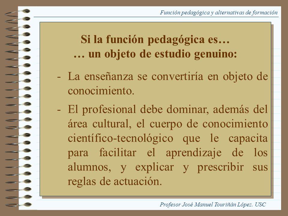 Si la función pedagógica es… … un objeto de estudio genuino: