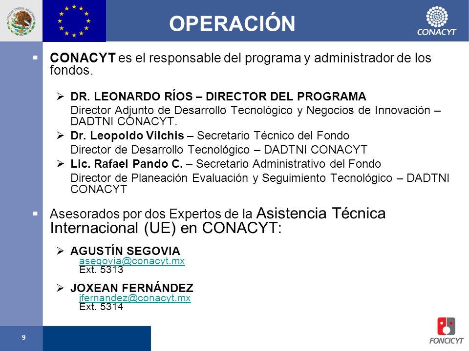 OPERACIÓN CONACYT es el responsable del programa y administrador de los fondos. DR. LEONARDO RÍOS – DIRECTOR DEL PROGRAMA.
