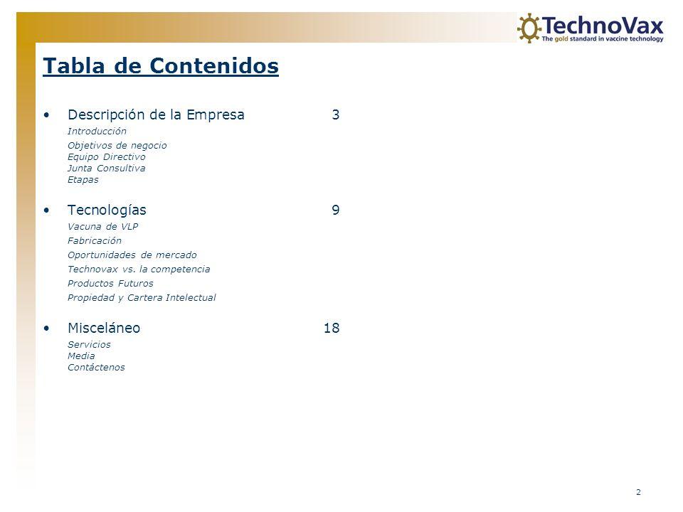 Tabla de Contenidos Descripción de la Empresa 3 Tecnologías 9