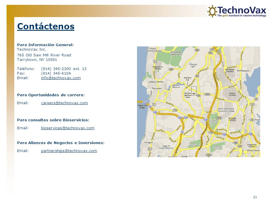 Contáctenos Para Información General: TechnoVax Inc.