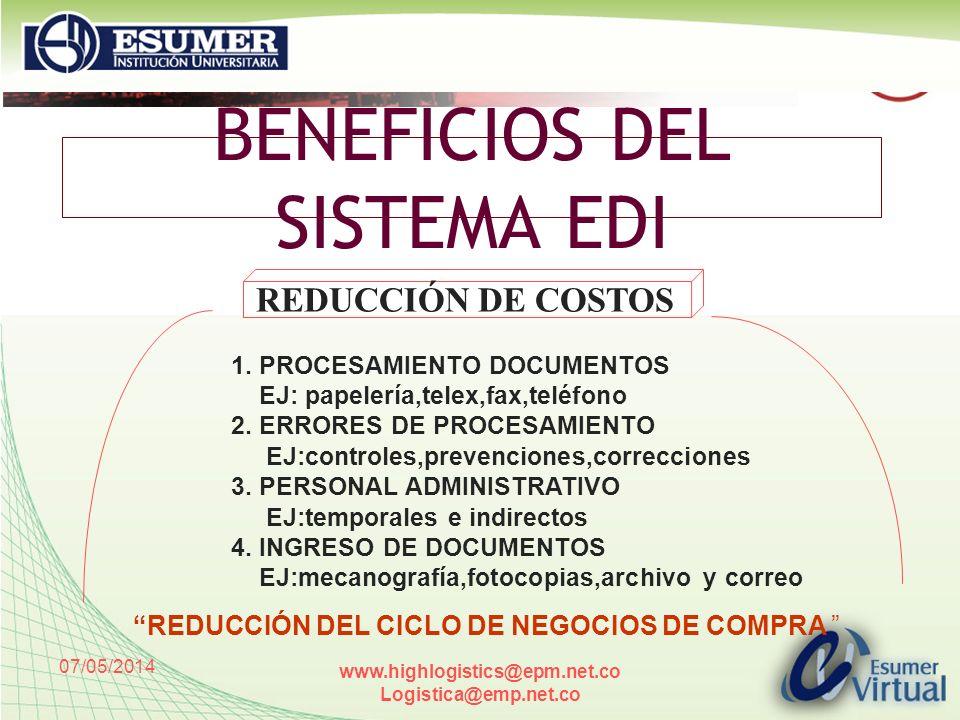 BENEFICIOS DEL SISTEMA EDI