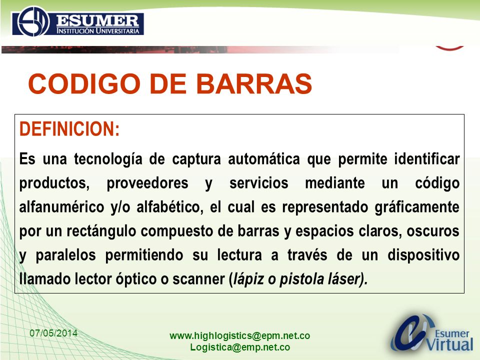 CODIGO DE BARRAS DEFINICION: