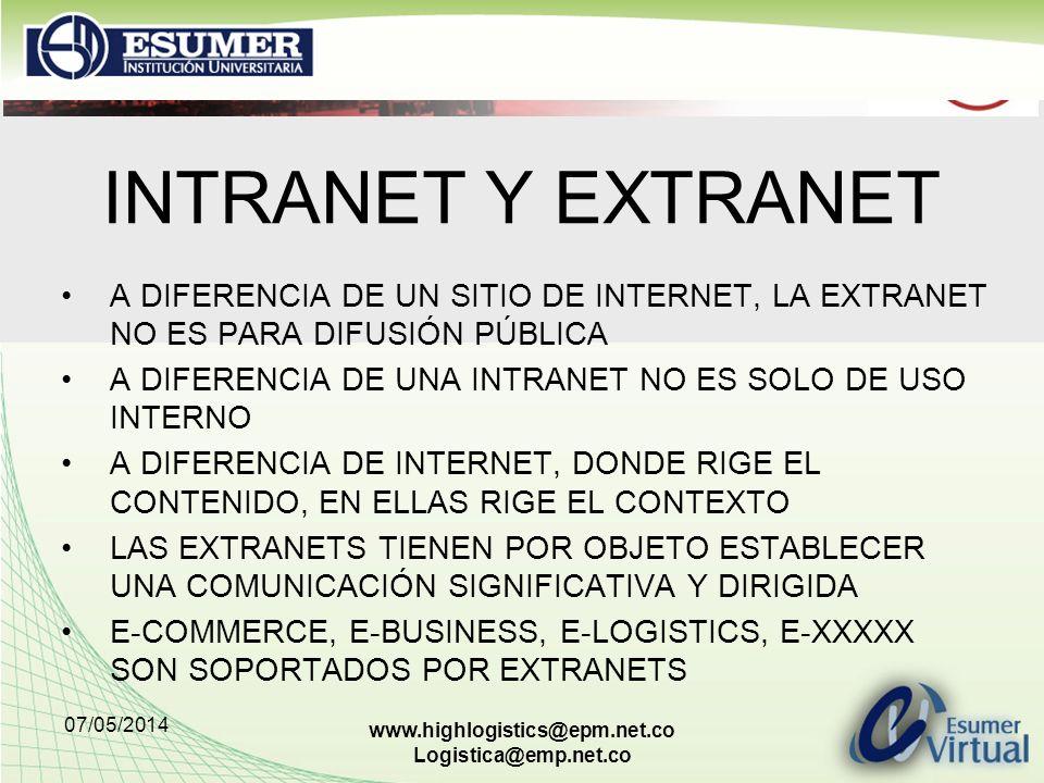 INTRANET Y EXTRANET A DIFERENCIA DE UN SITIO DE INTERNET, LA EXTRANET NO ES PARA DIFUSIÓN PÚBLICA.